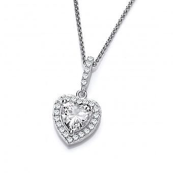 "Cavendish French So Cute Mini CZ Drop Heart Pendant with 16-18"" Chain"