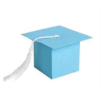 TRIXES 50PC miniatura azul formatura favor caixas com Tassel decoração