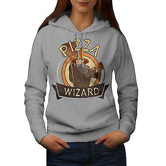 Pizza Food Wizard Women GreyHoodie | Wellcoda