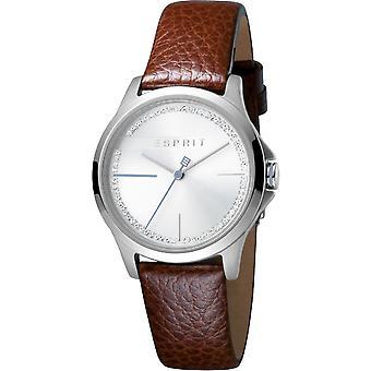 ESPRIT Dameur ure glæde sølv brun analoge Quartz