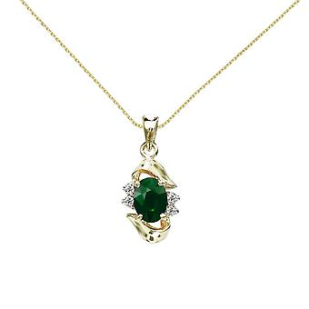 LXR 14k Gul Guld smaragd og Diamant Vedhæng 0.65ct