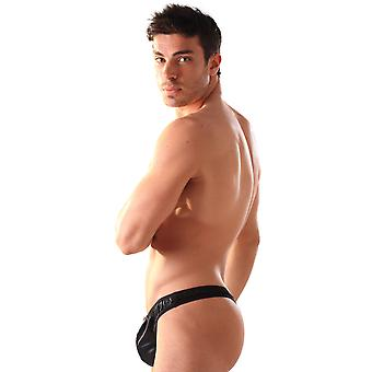 Tied N Teased Men's G String Thong Sexy Black Zipped Leather Pouch Easy Access