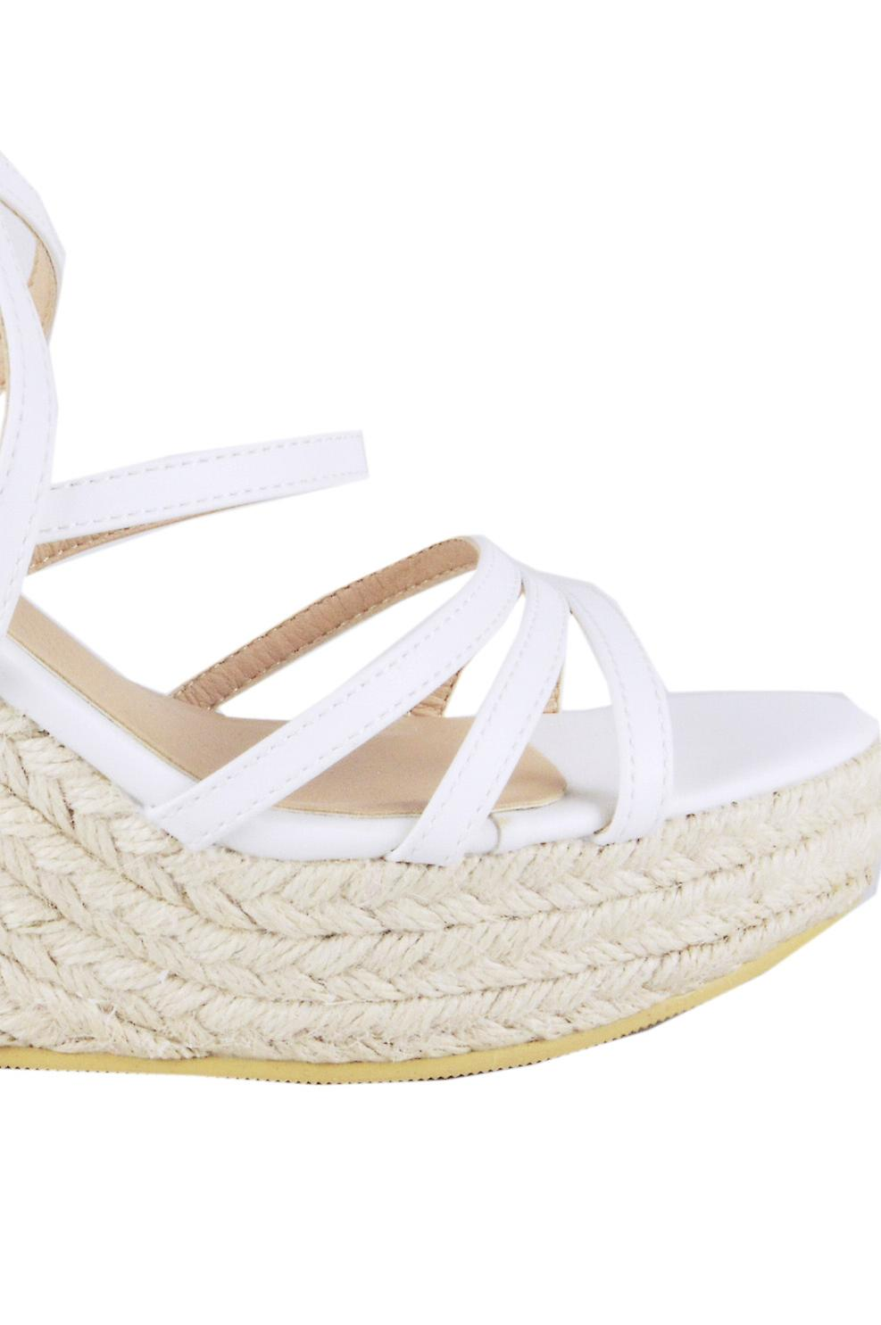 Lovemystyle Woven Wedges With White Double Straps