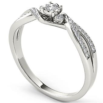 Igi certified 14k white gold 0.15ct round diamond three stone engagement ring