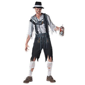 Mens Oktoberfeast Bavarian Zombie Oktoberfest Halloween Fancy Dress Costume