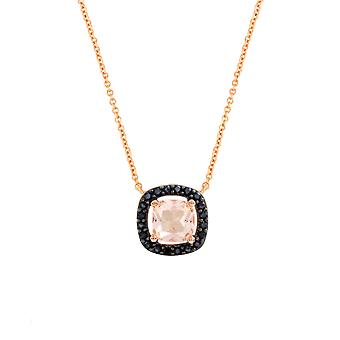 Bertha Juliet Collection Women's 18K RG Plated Black Cushion Halo Fashion Necklace