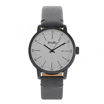 Simplify The 2500 Leather-Band Men's Watch w/ Date - Charcoal