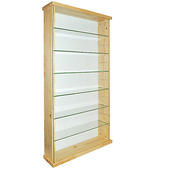 Näyttely - Solid Wood 6 Hylly Glass Wall Display Cabinet - Pine