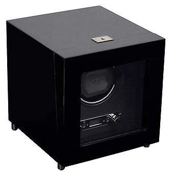 Wolf Designs Savoy Black Wood & Chrome Single Watch Winder 2.7