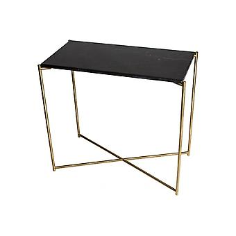 Gillmore Black Marble Small Console Table With Brass Cross Base