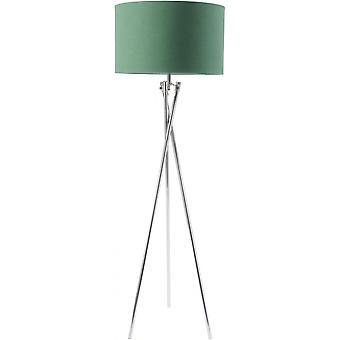 Libra möbler nickel twist stativ golv lampa med grön nyans