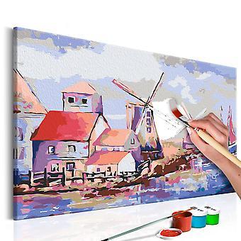 DIY canvas painting - Windmills (Landscape)