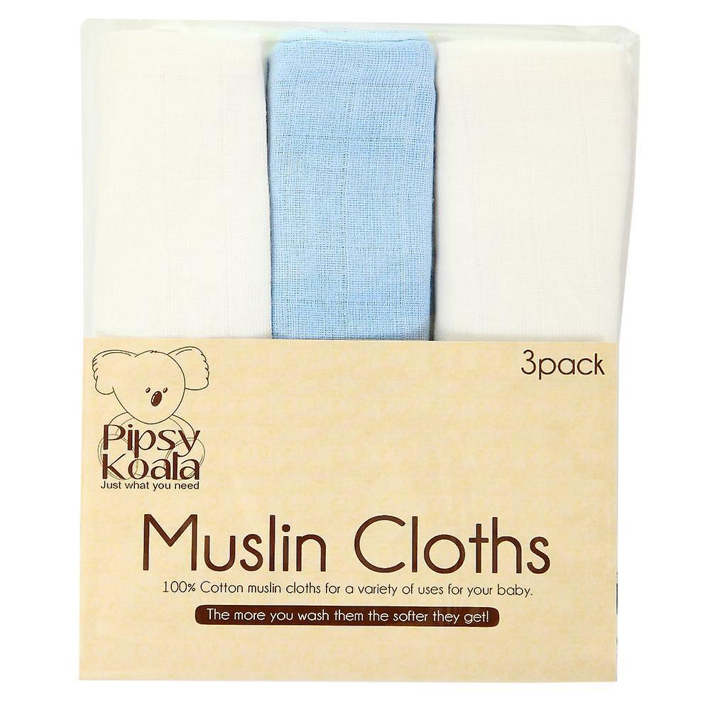 Pipsy Koala Muslin Cloths Pack Of 3 (white & Blue)