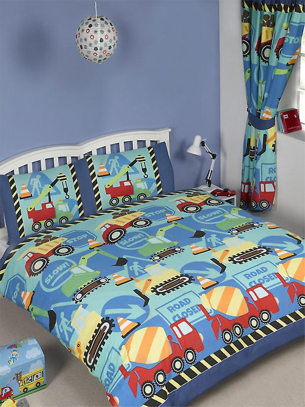 Construction Time Duvet Cover and Pillowcase Set