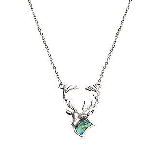 Ewige Sammlung Monarch der Glen Paua Shell Silberfarbe Hirsch Halskette