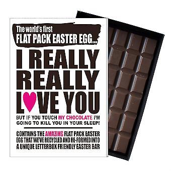 Divertido plano de Pascua huevo chocolate bar tarjeta de regalo hombres novio marido EIYF110
