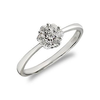 Jewelco London Ladies Solid 9ct White Gold White Round Brilliant Cubic Zirconia 7 Stone Cluster Engagement Ring
