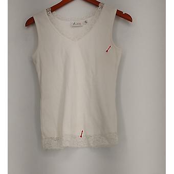 Denim & Co. XXS Essentials pitsi leikata kaula säiliö alkuun valkoinen A219330