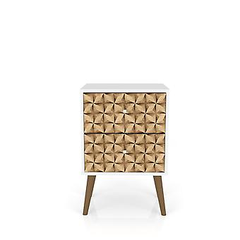 Manhattan comfort  liberty mid century - modern nightstand 2.0 with 2 full extension drawers in white and 3d brown prints
