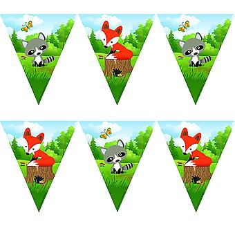 Collar de banderín Fox Fox Party 360 cm Schlauer Fuchsparty Cumpleaños de los niños