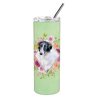 Borzoi Green Flowers Double Walled Stainless Steel 20 oz Skinny Tumbler