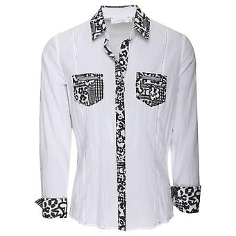 Just White Leopard Print Detail Fitted White Shirt