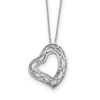 925 Sterling Zilver gepolijst Gift Boxed Spring Ring Rhodium verguld Love Heart Ketting 18 Inch Sieraden Geschenken voor vrouwen