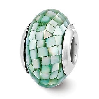 925 Sterling Silber poliert Finish Reflexionen grün simuliert Eperinperle Mosaik Perle Charm Anhänger Halskette Juwel