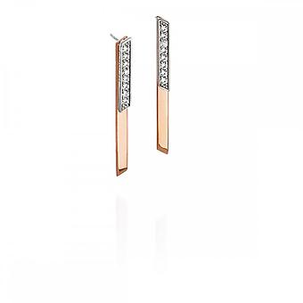 Fiorelli Silver Front Back Earrings Pave Rose Gold B5144C