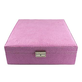 Jewellery box, suede-Pink, 26 x 26 cm