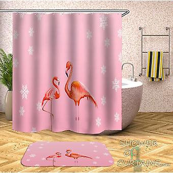 Two Flamingos Pink Background Shower Curtain