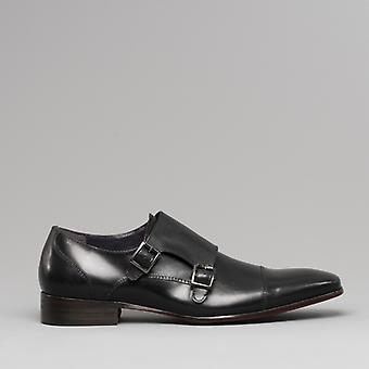 Gucinari Senna Mens Leather Double Monkstrap Shoes Black