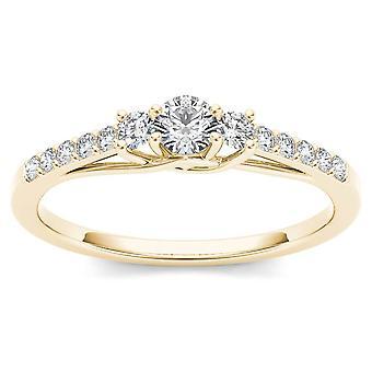 Igi المعتمدة 10k الذهب الأصفر 0.3 ct الماس ثلاثة حجر خاتم الخطوبة