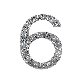 Silver Glitter Number Sticker - Number 6