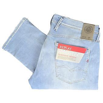 Replay Anbass Hyperflex Stretch Light Wash Denim Slim Jeans