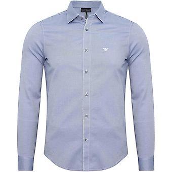 Emporio Armani Cotton Piquet Long Sleeve Blue Navy Shirt