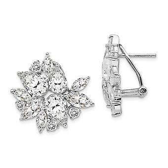 Cheryl M 925 Sterling Silver CZ Cubic Zirconia Simulated Diamond Omega Back Earrings Jewelry Gifts for Women