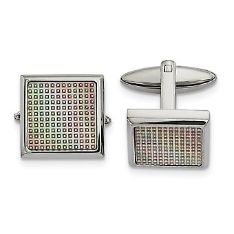 19.24mm Stainless Steel Polished Rainbow Textured Square Cuff Links Jewelry Gifts for Men