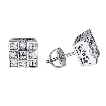 925 Sterling Ezüst Férfi Női Unisex Forduló CZ cubic cirkónia szimulált Gyémánt négyzet alakú klaszter divat fülbevaló J