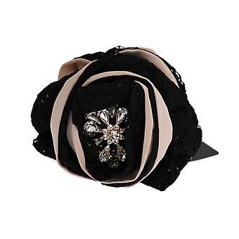 Dolce & Gabbana Pink Silk Black Lace Crystal Hair Claw