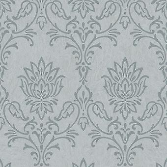 Ravello Floral Damask Embossed Wallpaper Grey and Silver Rasch 304329