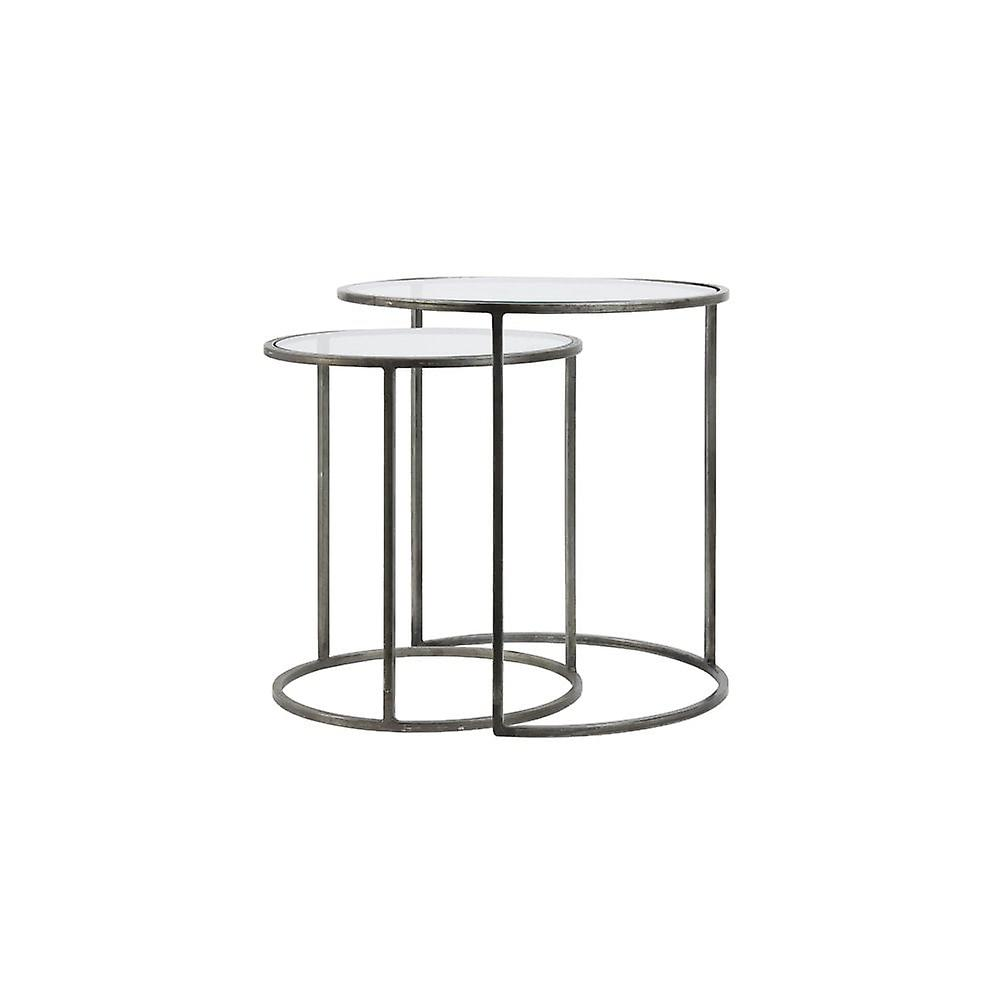 Light & Living Side Table Set Of 2 40x45 And 50x52cm Duarte Glass-Vintage Tin