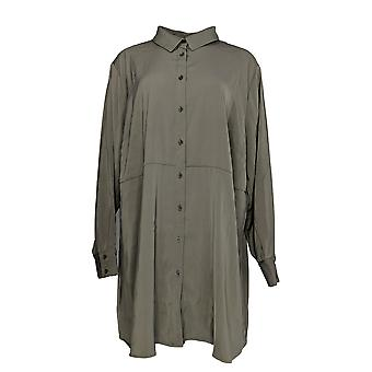 Susan Graver Women's Plus Top Stretch Peachskin Button Front Gray A367778