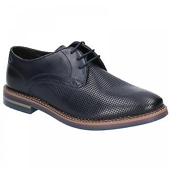 Base London Mens Blake Burnished Print Navy Blue Leather Shoes
