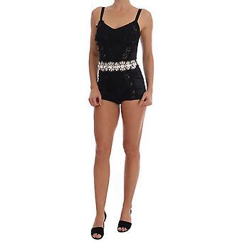 Dolce & Gabbana Musta Kristalli Kukka Romper Body