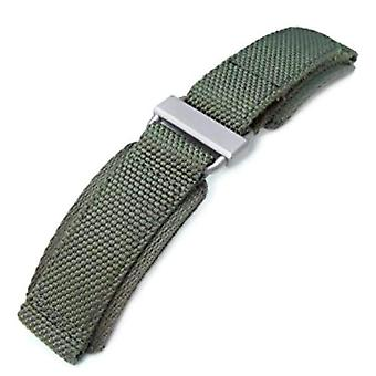 Strapcode hook an loop watch strap 22mm miltat honeycomb military green nylon fastener watch strap, brushed stainless buckle, xl