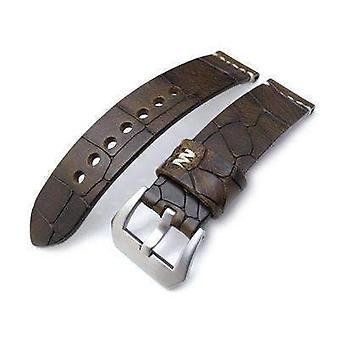 Strapcode crocodilo grain watch strap miltat zizz collection 22mm cracked croco escuro marrom pulseira, costura bege