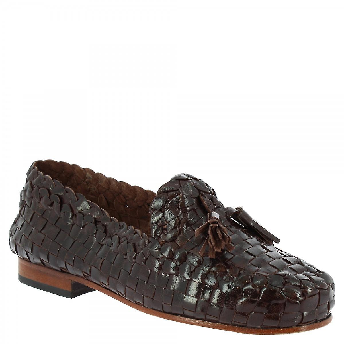 Leonardo Shoes Women's handmade tassels loafers dark brown woven calf leather u0SBP