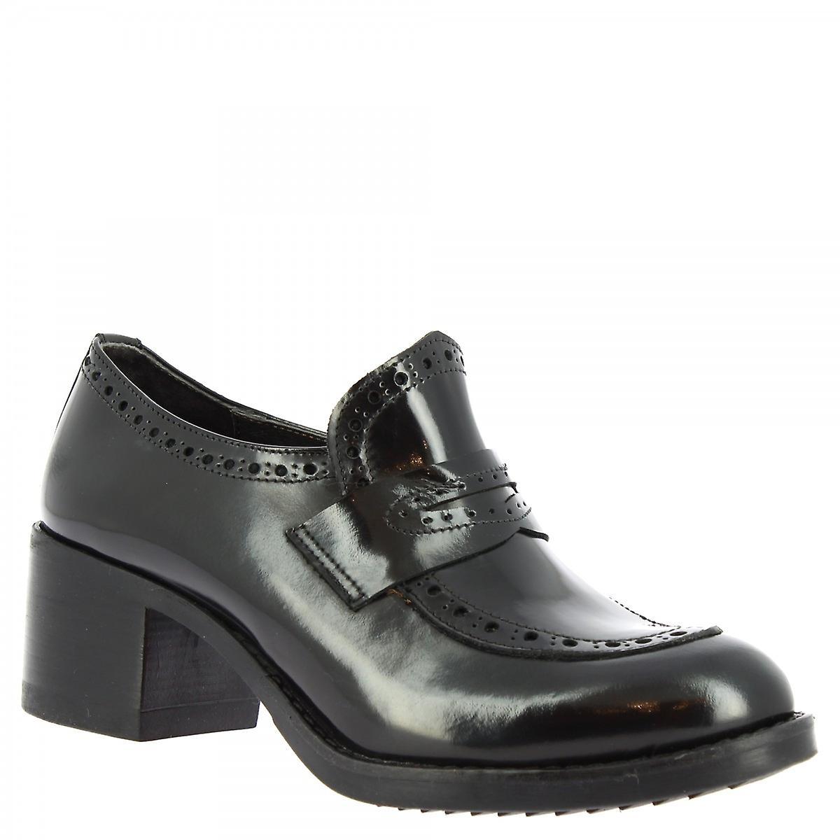 Leonardo Shoes Women's handmade heels loafers shoes in black patent leather Hx0fW