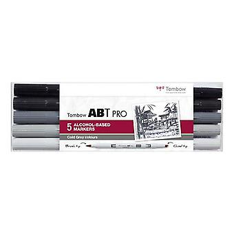 Tombow ABT PRO Alcohol - Cepillo Dual 5 uds. set Cold Gray 19-ABTP-5P-4